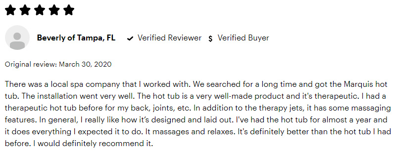 Marquis 5 Star Consumer Review
