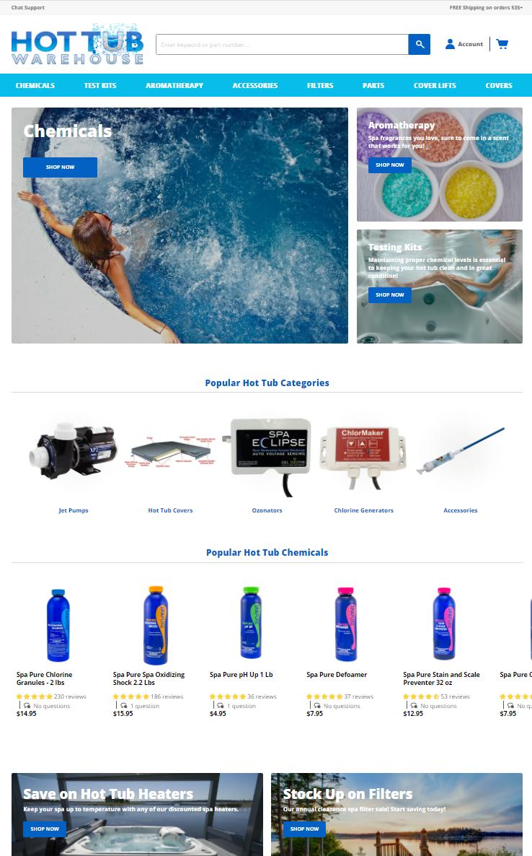 Hot Tub Warehouse website